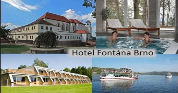 BRNO a Brněnská přehrada až do 30.6. 3 dny s polopenzí a wellness v Hotelu Fontána*** pro 2 s bohatou polopenzí, wellness, bazénem, dítětem do 3 let zdarma.