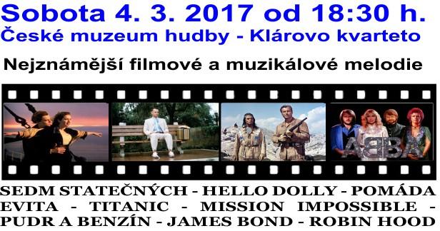 Nejkrásnější filmové a muzikálové melodie v unikátním objektu Českého muzea hudby v sobotu 4.3.2017 od 18:30 h.